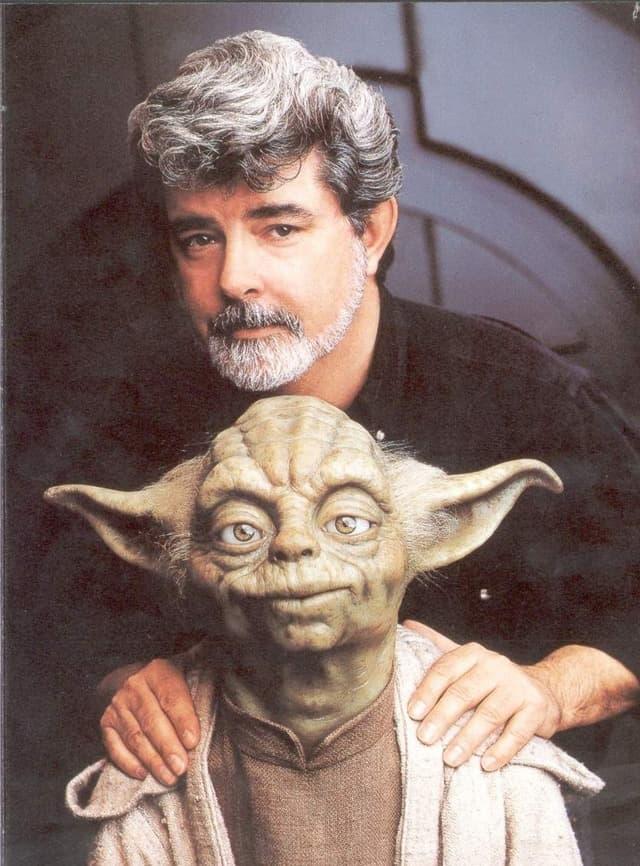 Twórca Star Wars George Lucas i Yoda