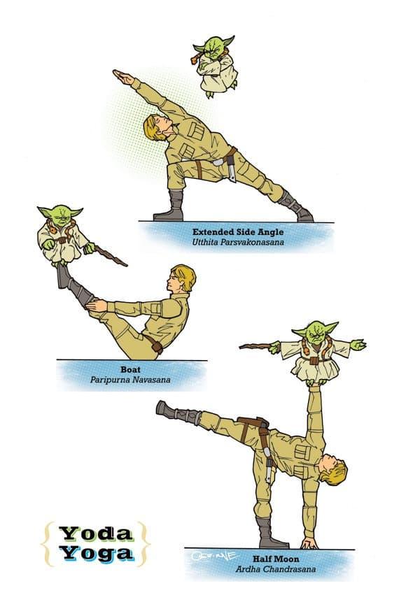 Star Wars Joga - Yoda i Luke Skywalker w pozycjach jogi (Uttitha Parsvakonansana , Paripurna Navasana i Ardha Chandrasana)